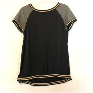 Sanctuary short sleeve top with metallic ribbing